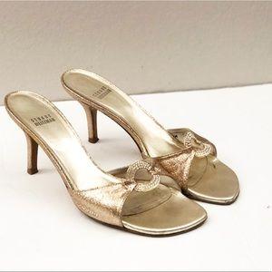 Stuart Weitzman Gold Slide Heels Size 8M